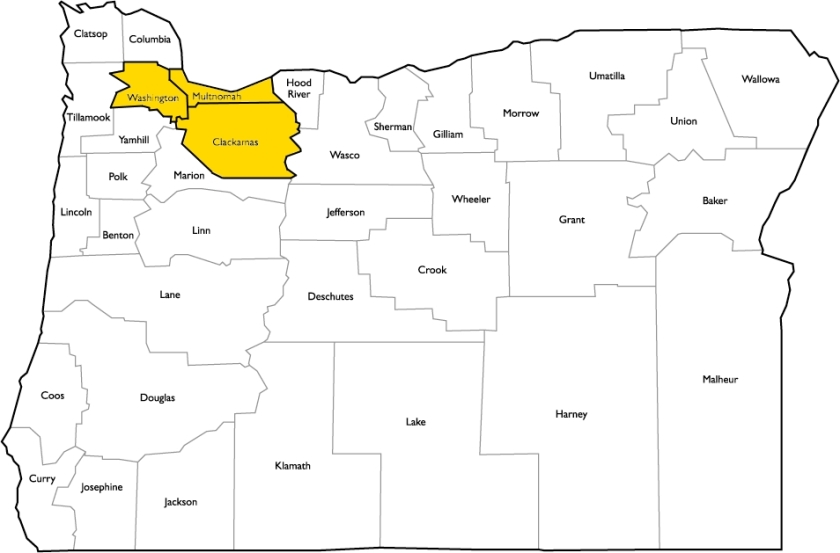 Oregon County Map -Prelimnary Covereage